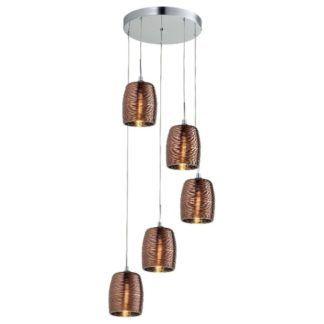 Nowoczesna lampa wisząca Gobi - 5 szklanych kloszy, miedź