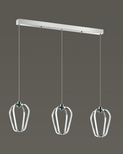 potrójna lampa wisząca led, srebrna, nowoczesna