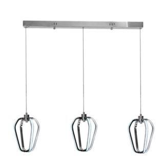 Nowoczesna lampa wisząca Hikone - 3 klosze, srebrna, LED