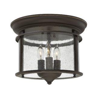 Brązowa lampa sufitowa Gentry - klasyczna, ze szklanym kloszem