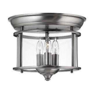 Srebrna lampa sufitowa Gentry - okrągły, szklany klosz, 3 miejsca na żarówki
