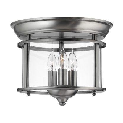 srebrna lampa sufitowa na 3 żarówki klasyka