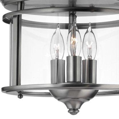 srebrna lampa klasyczna ze szklanym kloszem