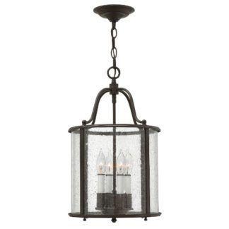 Stylowa lampa wisząca Gentry - szklany klosz w ciemnobrązowej oprawie, klasyczna
