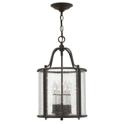 ciemnobrązowa lampa wisząca okrągły klosz ze szkła