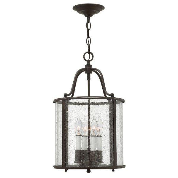 klasyczna lampa ze szklanym kloszem w brązowej oprawie