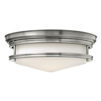 Szklany plafon Hadley - biały klosz, srebrna oprawa, klasyczny