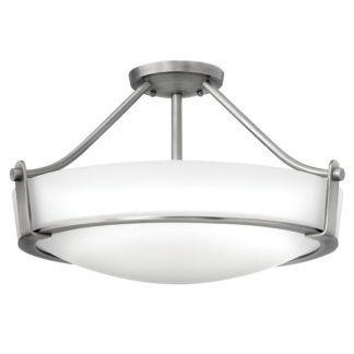Elegancka lampa sufitowa Hathaway - okrągły, szklany klosz, srebrna rama