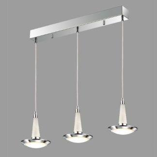 Potrójna lampa wisząca Kobe - okrągłe klosze, LED, srebrna