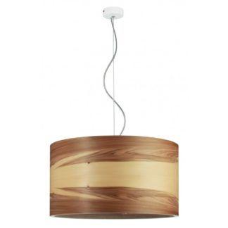 Skandynawska lampa wisząca Funk - drewniany klosz, brąz