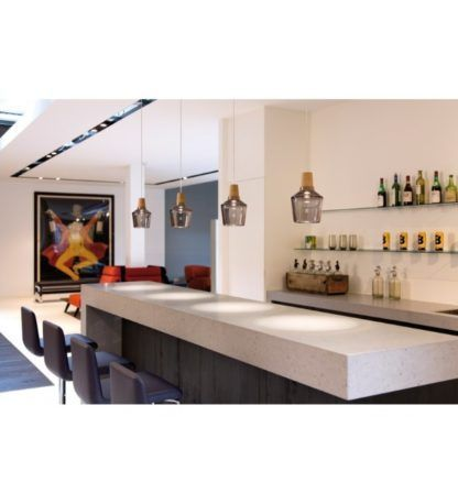 oświetlenie nowoczesnej kuchni, szare szkło