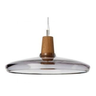 Szklana lampa wisząca Industrial - szeroki, szary klosz