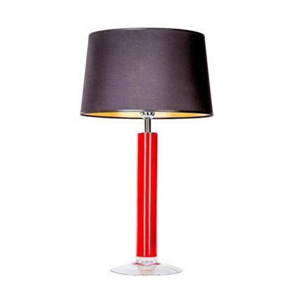 czerwona lampa stołowa z czarnym abażurem