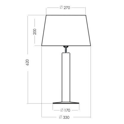 wąska lampa stołowa ze szkła