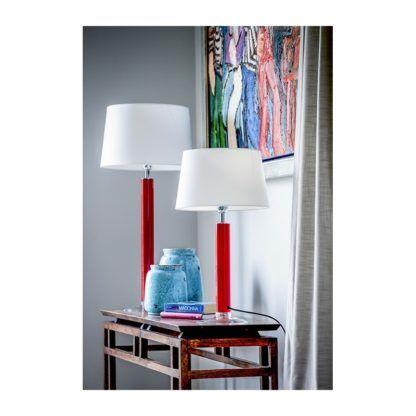 Szklana lampa stołowa Little Fjord - czerwona podstawa, biały abażur