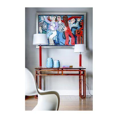 czerwona lampa stołowa salon