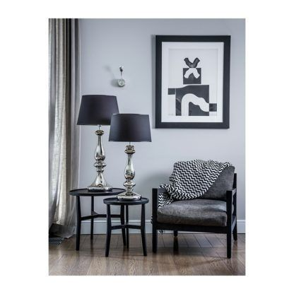 srebrno-czarna lampa stołowa salon