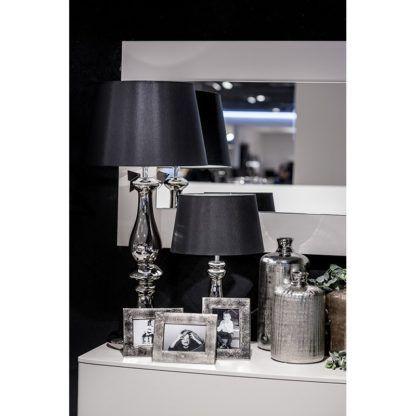stylowa lampa stołowa srebrna z czarnym abażurem