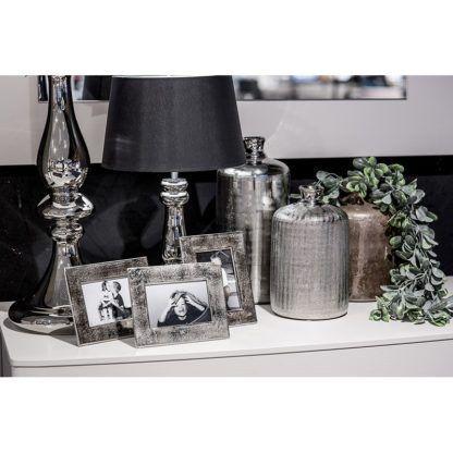 lampa stołowa modern classic czerń i srebro
