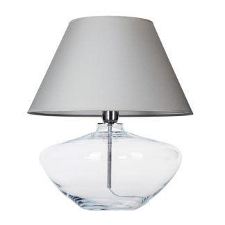 Elegancka lampa stołowa Madrid - bezbarwna, szary abażur