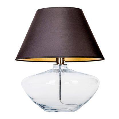 szklana lampa stołowa z ciemnym abażurem