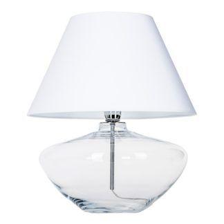 Szklana lampa stołowa Madrid - transparentna z białym abażurem