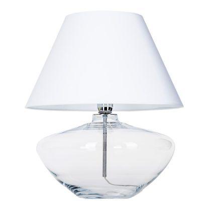 przezroczysta lampa z białym abażurem
