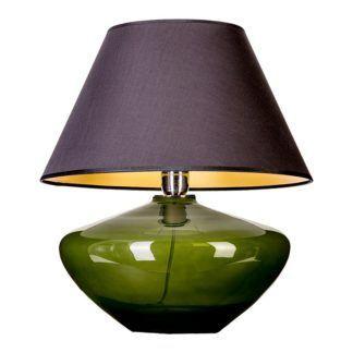 Zielona lampa stołowa Madrid- czarny abażur, szklana