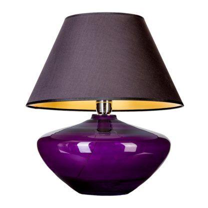 fioletowa lampa z czarnym abażurem