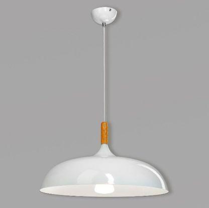 lampa wisząca do kuchni duży klosz, drewniany detal