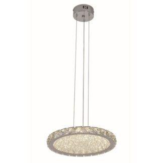 Efektowna lampa wisząca Marbella - płaski klosz z kryształków, glamour