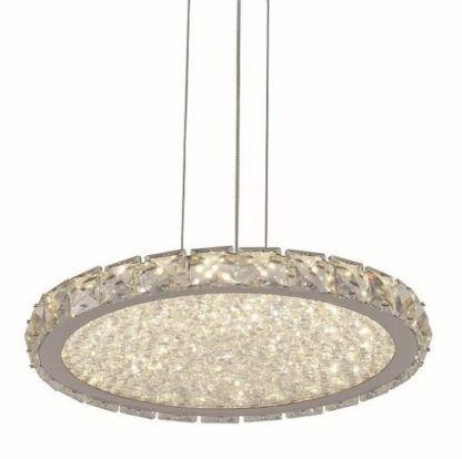 płaska lampa wisząca z kryształków