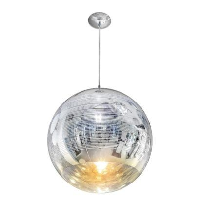 srebrna lampa wisząca kula