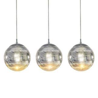Nowoczesna lampa wisząca Mila - 3 szklane klosze, srebrna