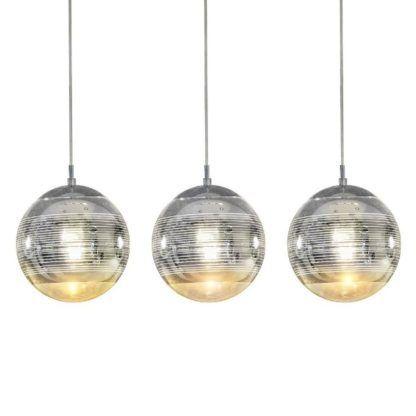 lampa wisząca 3 klosze srebrna nowoczesna
