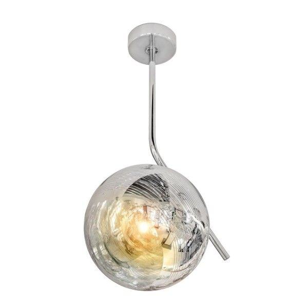 srebrna, nowoczesna, szklana lampa wisząca