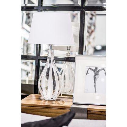 szklana lampa stołowa do salonu