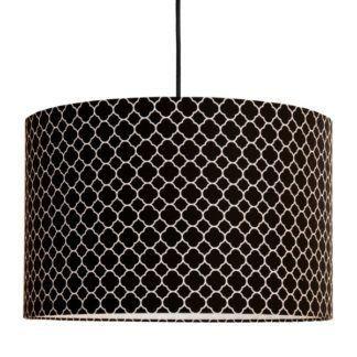Czarna lampa wisząca Maroko - drobny, biały wzór
