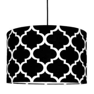 Efektowna lampa wisząca Maroko - biało-czarny abażur