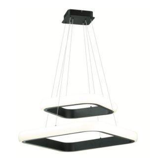 Podwójna lampa wisząca Omega - kwardatowe klosze LED, czarna