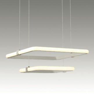 Designerska lampa wisząca Orion - dwa klosze, LED, biała