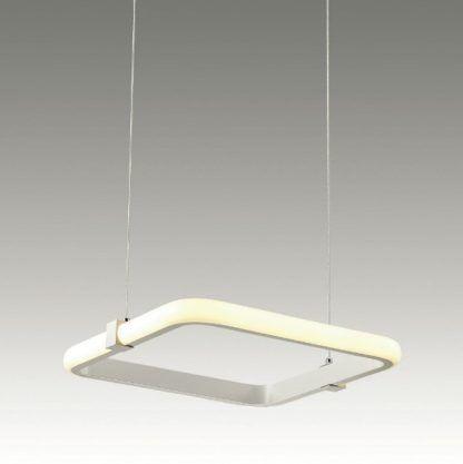kwadratowa, biała lampa wisząca panel LED