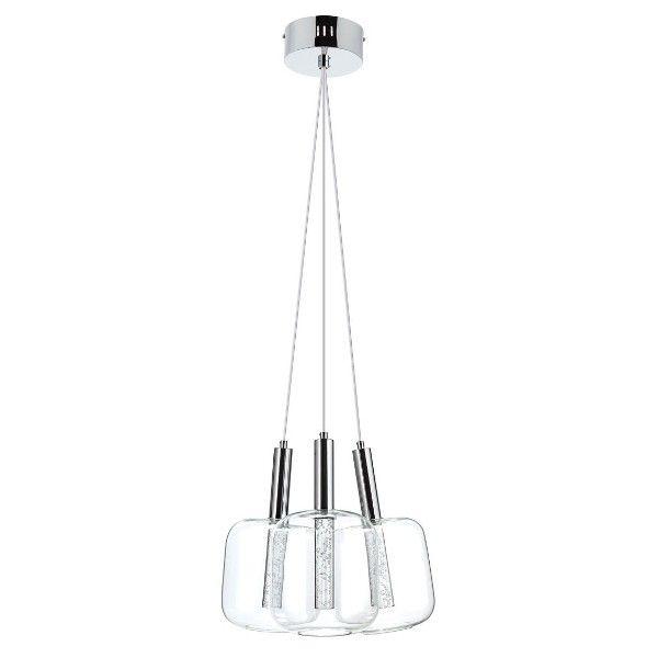 potrójna lampa wisząca ze szklanymi kloszami