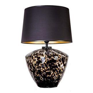Efektowna lampa stołowa Parma - szklana podstawa, czarny abażur