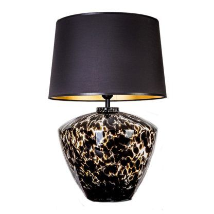 czarna lampa stołowa ze szkła