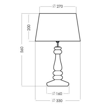 Szklana lampa stołowa Petit Trianon - czarny abażur, elegancka