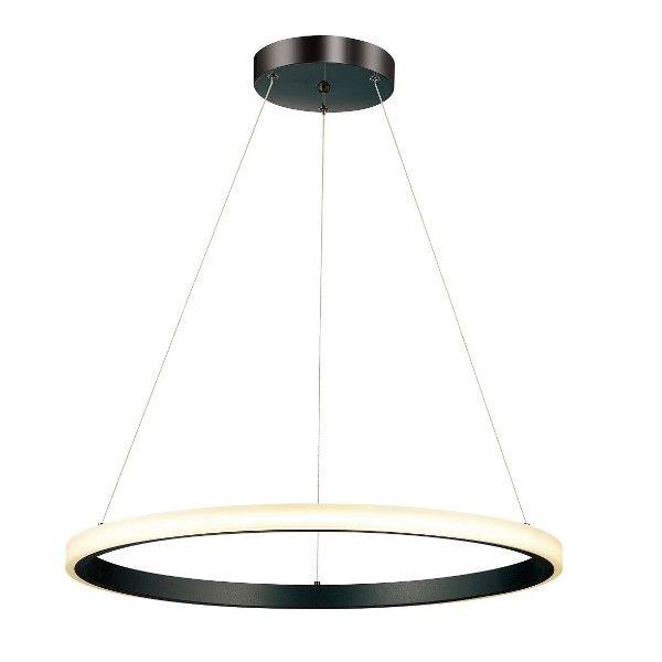 okrągła lampa wisząca LED czarna