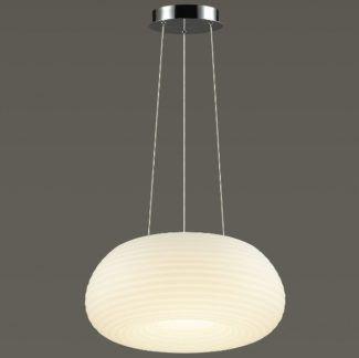 Owalna lampa wisząca Portofino - biały klosz, 3 barwy światła