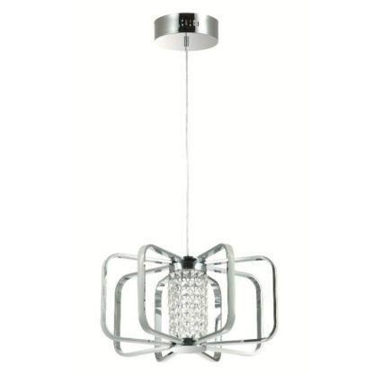 srebrna lampa wisząca z kryształkami w środku LED