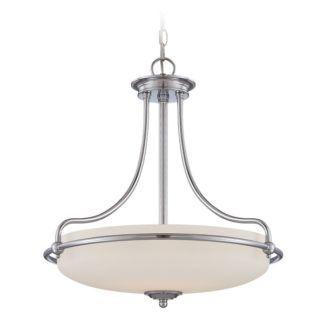 Stylowa lampa wisząca Griffin - szklany, biały klosz, oprawa-polerowany chrom
